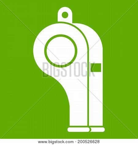 Whistle icon white isolated on green background. Vector illustration