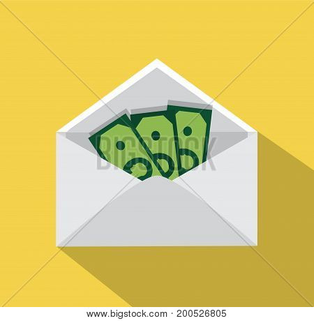 A stack of banknotes lies in an envelope on a yellow background
