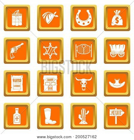 Wild west set design logo. Simple illustration of 16 wild west logo vector icons set in orange color isolated vector illustration for web and any design