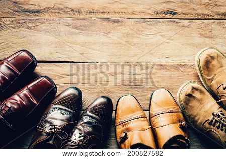 shoes for men various styles on a wooden floor - lifestyles.