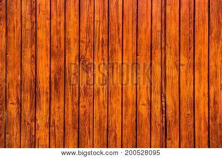 Texture of the old wooden wall from a number of planks that are varnished