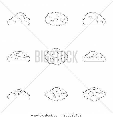 Season cloud icon set. Outline set of 9 season cloud vector icons for web isolated on white background