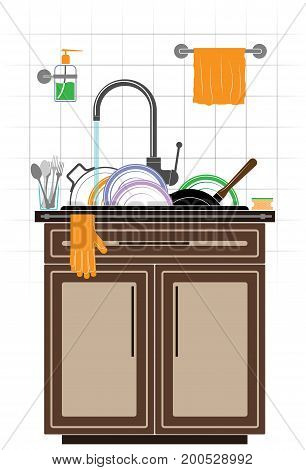 A mountain of dirty unwashed dishes in the sink in the kitchen. Plates, saucepan and frying pan. Tiled wall and kitchen furniture. Color picture.