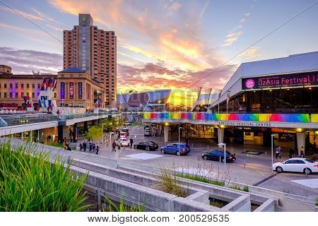 Adelaide Australia - September 16 2016: Adelaide Festival Centre with Intercontinental hotel scene viewed towards west from King William street at sunset