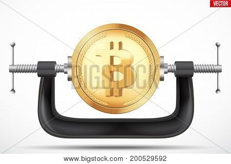 Cryptocurrency symbol bitcoin being squeezed in vice. The concept of pressure on the digital currency by the government or banks. Vector Illustration isolated on background.