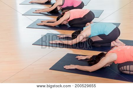 Close Up Group Of People Doing Yoga Child's Poses In Studio Training Room,balasana Poses,wellness An