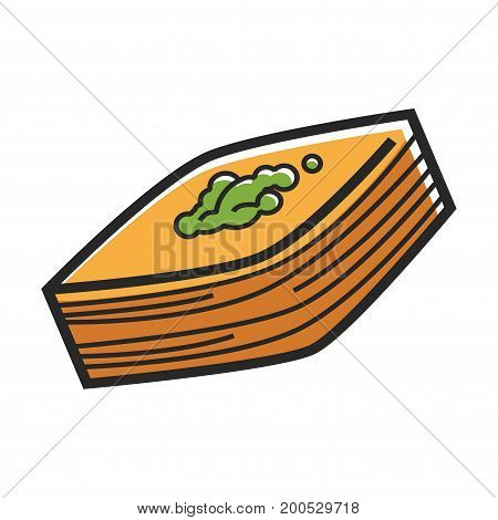 Vector illustration of orange colored food served with green.