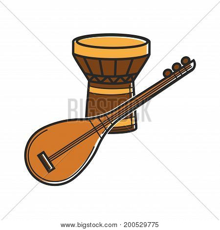 Vector illustration of string and drum traditional music instruments.