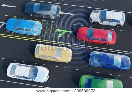 Autonomous self-driving car is analyzing traffic situation on the road. 3D rendered illustration.