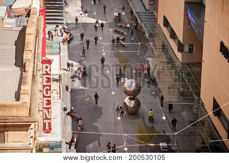 Adelaide Australia - September 16 2016: Rundle Mall viewed from above towards west in Adelaide city on a bright day