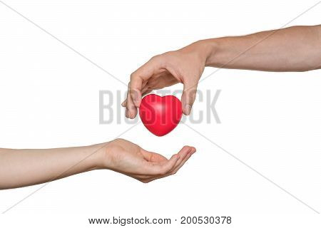 Heart Transplant And Organ Donation Concept. Hand Is Giving Red
