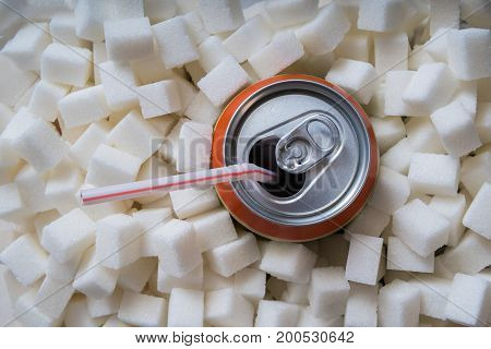 Carbonated Soda Drink With Many Sugar Cubes. Unhealthy Eating Co