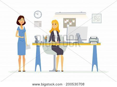 Office Scene - vector illustration of a business situation. Cartoon people characters of young female colleagues, women at work. Manager, supervisor, secretary, reception discussing process