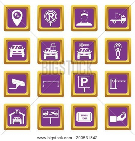 Parking set icons set in purple color isolated vector illustration for web and any design