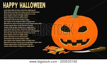 Isolated carved pumpkin with knife on black background