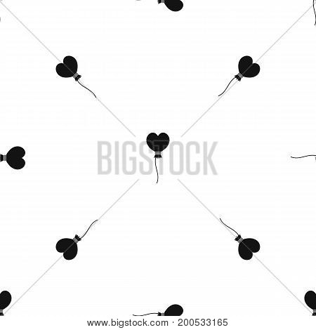 Balloon in the shape of heart pattern repeat seamless in black color for any design. Vector geometric illustration