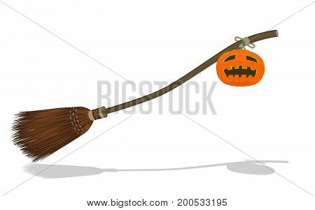 Isolated flying broom and the Jack-o'-lantern on transparent background