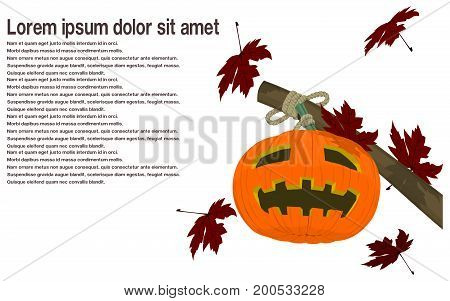 The jack-o-lantern among falling maples on transparent background