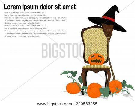 Composition of Jack-o'-lantern and witch's accessories on transparent background