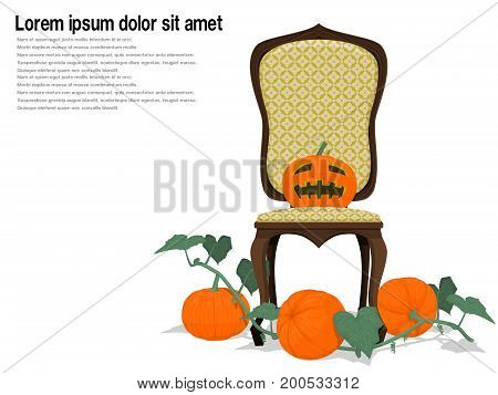 Isolated Jack-o'-lantern and the  vintage chair  on transparent background