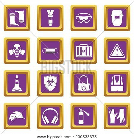 Safety icons set in purple color isolated vector illustration for web and any design