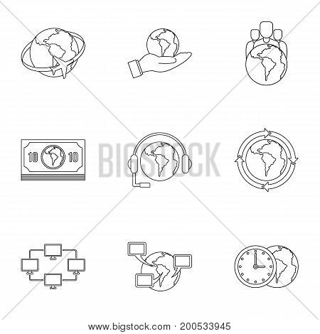 Global plan icon set. Outline set of 9 global plan vector icons for web isolated on white background