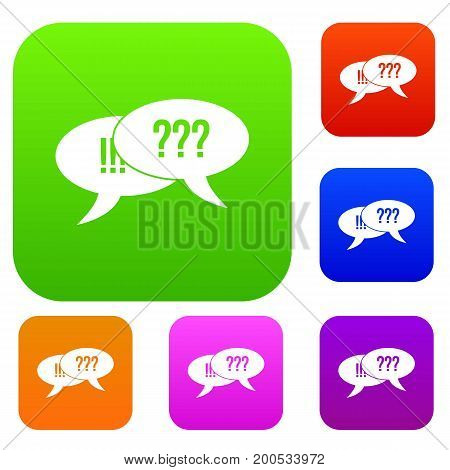Question and exclamation speech bubbles in simple style isolated on white background vector illustration