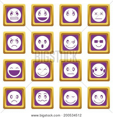 Emoticon icons set in purple color isolated vector illustration for web and any design
