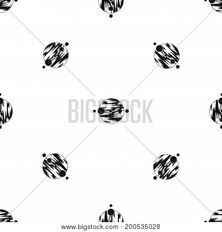 Planet and moons pattern repeat seamless in black color for any design. Vector geometric illustration