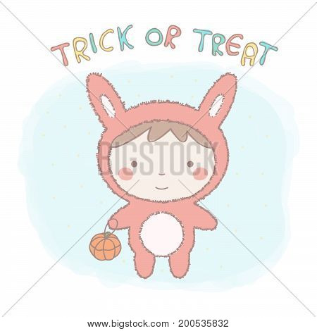 Cute little girl in bunny costume for Halloween, colorful vector cartoon illustration
