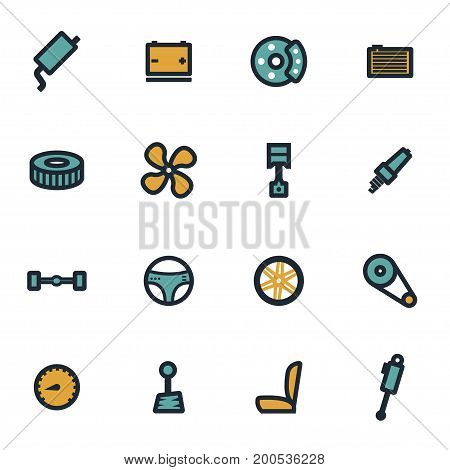 Vector flat car parts icons set on white background