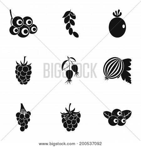 Natural berries icon set. Simple set of 9 natural berries vector icons for web isolated on white background