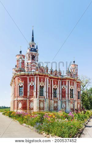 Novo-Nikolsky Cathedral (was built in XVIII-XIX century) in sunny summer day. Mozhaysk Moscow region Russia