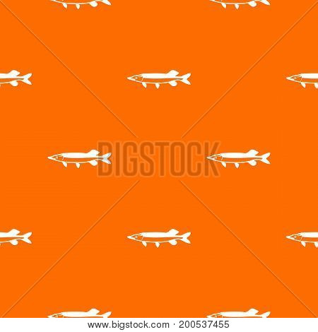 Saury pattern repeat seamless in orange color for any design. Vector geometric illustration