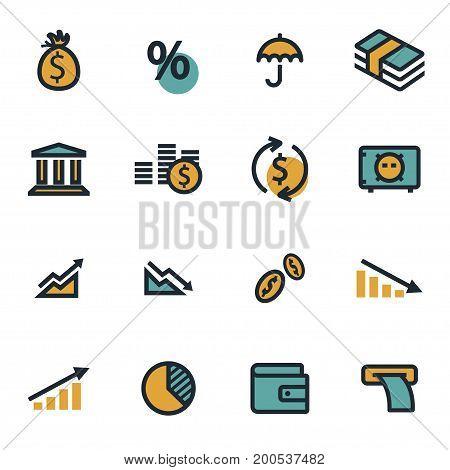 Vector flat economic icons set on white background