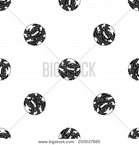 Round planet pattern repeat seamless in black color for any design. Vector geometric illustration