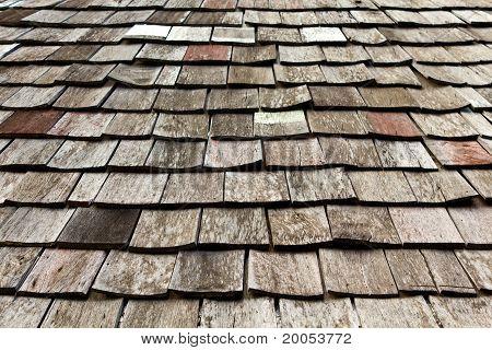 Old Worn Shingle Roof Pattern