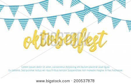 Oktoberfest banner. Background with Oktoberfest hand lettering and checkered buntings