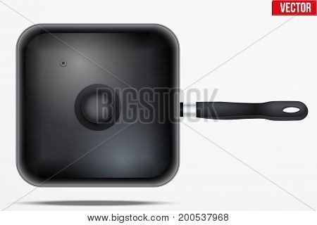 Classic Metal black fry pan with glass lid and handle. Top view and Square shape. Kitchen and domestic symbol. Vector Illustration isolated on background.