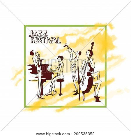 Poster for jazz concert. Jazz band plays on the background of abstract yellow watercolor stain. Vector illustration in sketch style, isolated on white background.