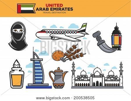 United Arab Emirates travel destination poster with country symbols vector illustration. Woman in hijab, big plane, national food, authentic architecture, famous Burj khalifa and teapot with ornament.