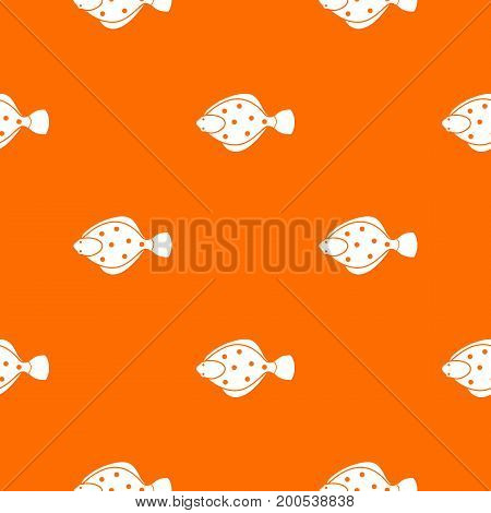 Flounder fish pattern repeat seamless in orange color for any design. Vector geometric illustration