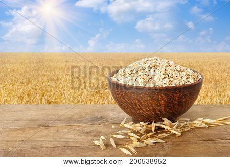 ears of oats and oatmeal in bowl on wooden table with field on the background. Ripe field, blue sky with beautiful clouds and sun. Uncooked porridge