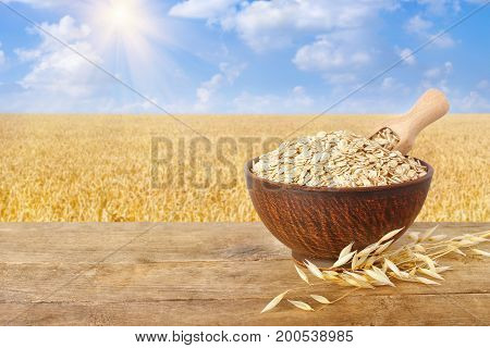 ears of oats and oatmeal with scoop in bowl on wooden table with field on the background. Ripe field, blue sky with beautiful clouds and sun. Uncooked porridge