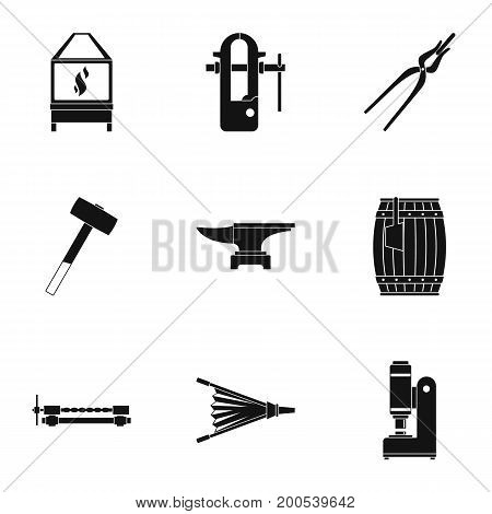 Blacksmith profession icon set. Simple set of 9 blacksmith profession vector icons for web isolated on white background