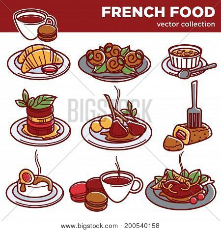 French cuisine food dishes of traditional main or garnish, drinks and desserts. Vegetable ratatouille, onion soup and mushroom julien, meat omelet and pastry. Vector isolated icons for restaurant menu