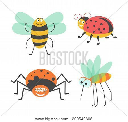 Funny insects with cute faces isolated vector illustrations set on white background. Big striped bumblebee, red ladybug with black dots, fat spider and mosquito with long proboscis and bulging eyes.