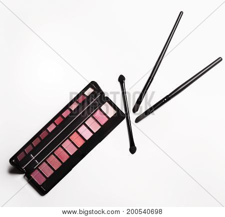 Flat Lay. Eyeshadow Palette With Makeup Brushes