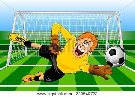 Goalkeeper jump catch a ball vector - illustration