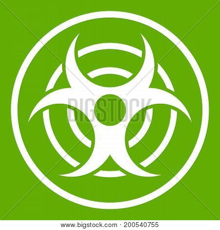 Sign of biological threat icon white isolated on green background. Vector illustration